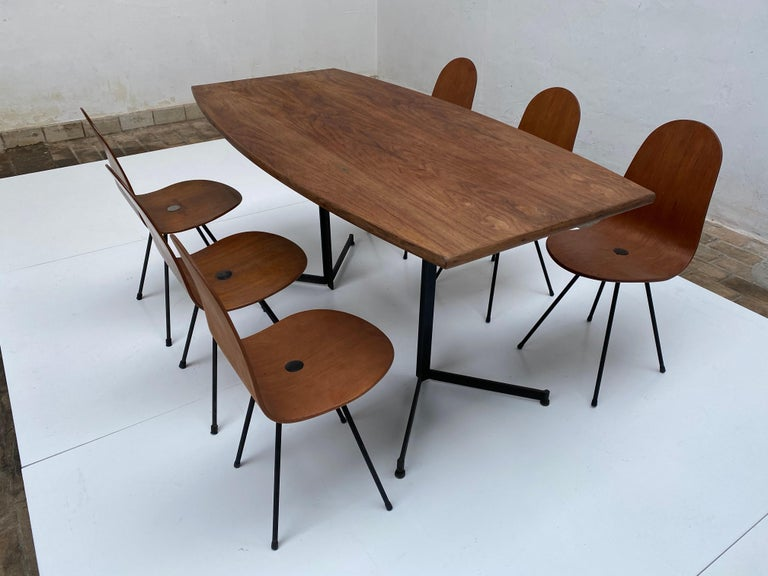 Italian Campo & Graffi Dining Set Comprising 6 Chairs & Matching Table, 1958, published For Sale