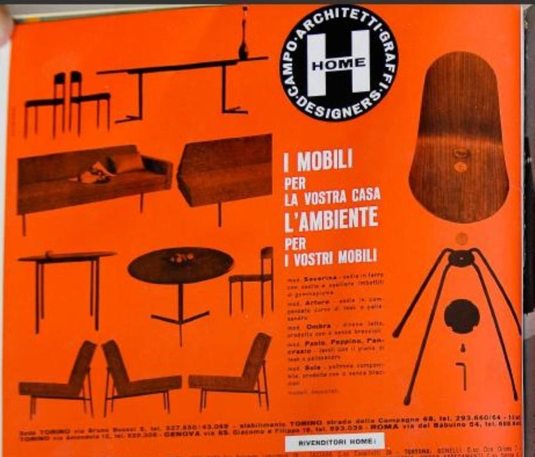Steel Campo & Graffi Dining Set Comprising 6 Chairs & Matching Table, 1958, published For Sale