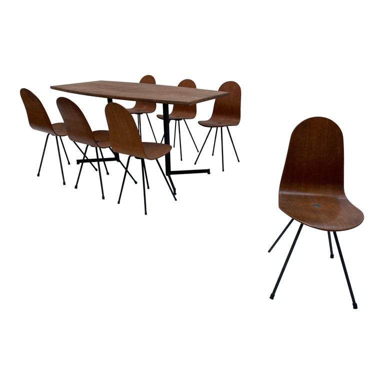 Campo & Graffi Dining Set Comprising 6 Chairs & Matching Table, 1958, published For Sale