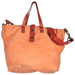 Campomaggi Orange Canvas Tote Shoping Bag