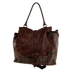 Campomaggi Teodorano Brown Plaid Wool and Leather Shoulder Bag