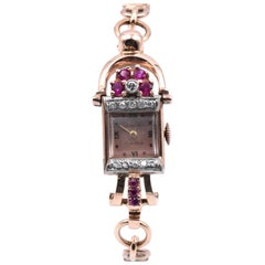 Camy 14 Karat Rose Gold Ruby and Diamond Vintage Watch