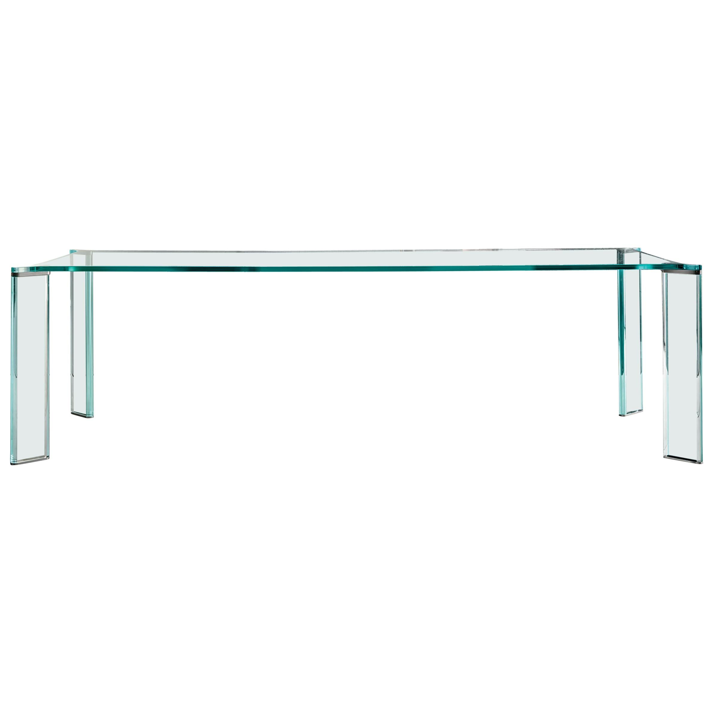 Can-Can Dining Table, Glass or Ceramic Top, Glass or Wooden Legs by Mario Milana