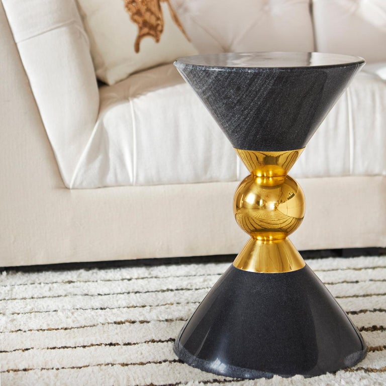 Modern Canaan Marble and Brass Accent Table For Sale