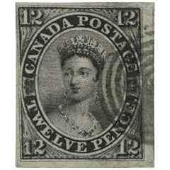 Canada 1851 Used the Famous 12d Black, SG4 Antique Postage Stamp