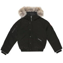 Canada Goose Youth Black Rundle Bomber Jacket w/ Coyote Fur - Size 10-12 Years