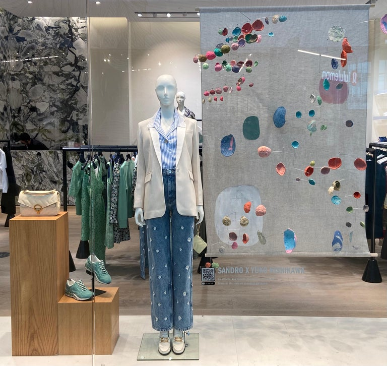 Large Sustainable Recycled Paper-Mache Mobile Sculpture, designed by Yuko Nishikawa exclusively for Sandro Paris.   An artistic, eco-friendly and charitable endeavor.  For Spring / Summer 2021, SANDRO gave artist Yuko Nishikawa complete creative