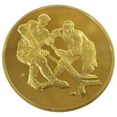 Canada-USSR 1972 Hockey Commemorative Gold Medallion in Original Case of Issue