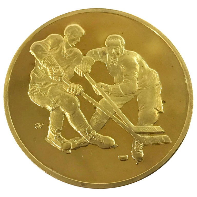 Canada-USSR 1972 Hockey Commemorative Gold Medallion in Original Case of Issue For Sale