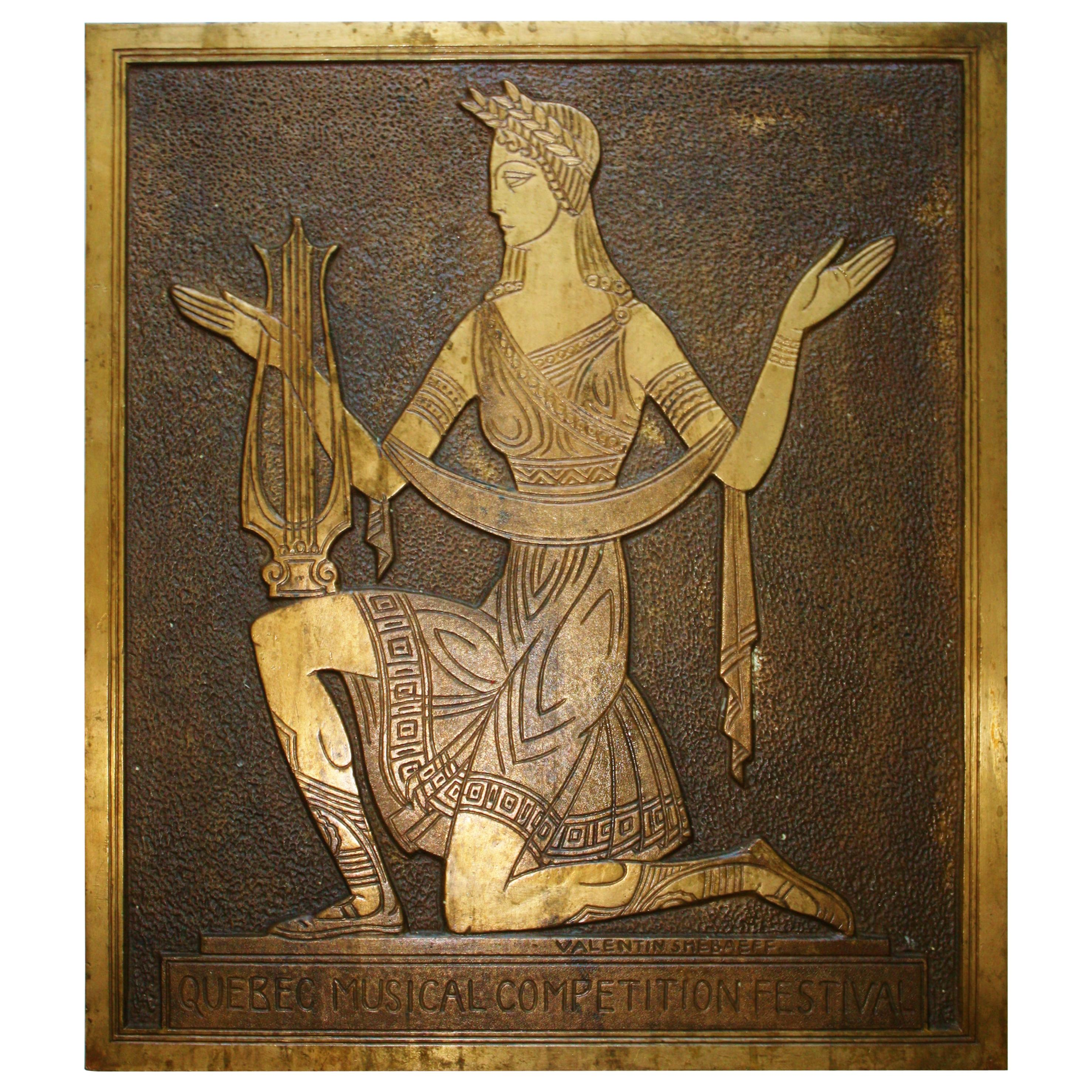 Canadian Art Deco Cast and Incised Bronze Figural Plaque by Valentin Shabaeff