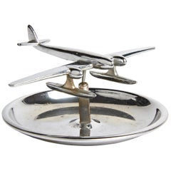 Canadian Art Deco Chrome Figurative Ashtray with Articulated Seaplane