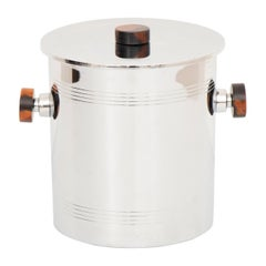 Canadian Art Deco Polished Chrome Ice Bucket with Amber Bakelite Handles by Glo
