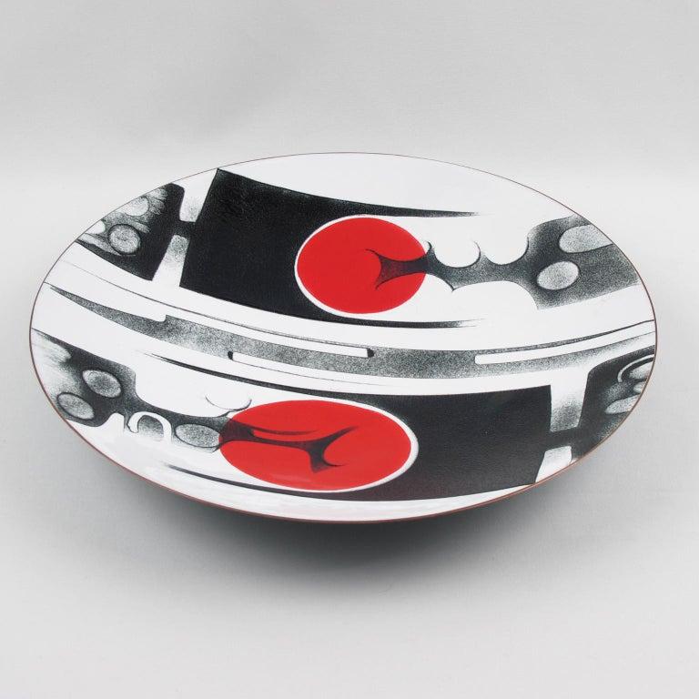 Mid-Century Modern Canadian Anita Trottier 1970s Enamel Art Work Plate Centerpiece Bowl For Sale