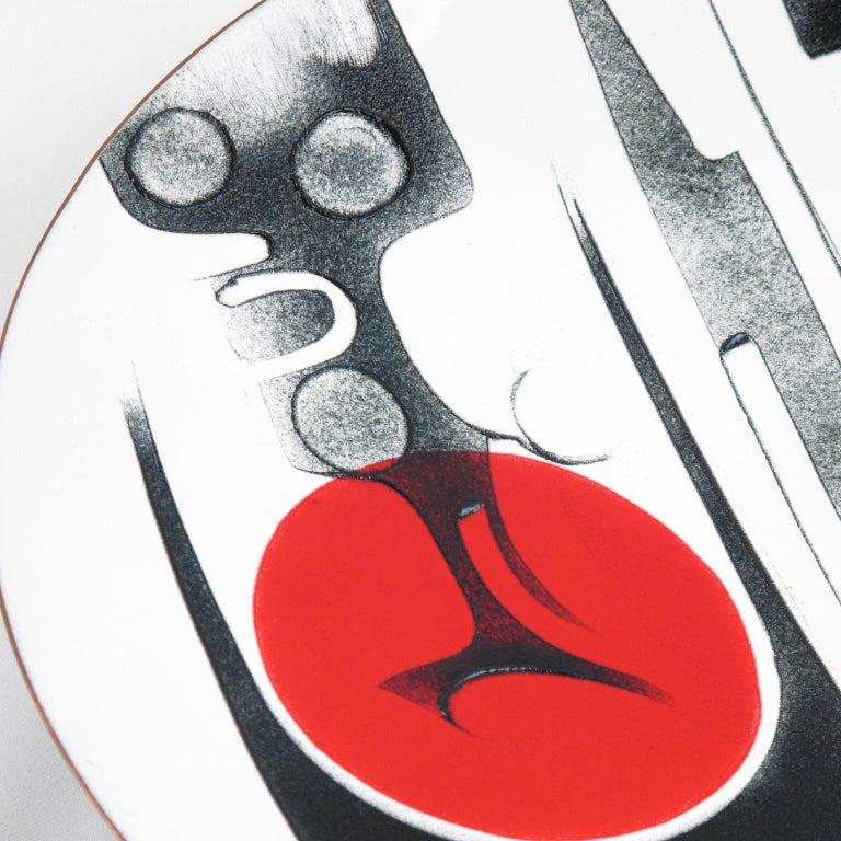 Metal Canadian Anita Trottier 1970s Enamel Art Work Plate Centerpiece Bowl For Sale