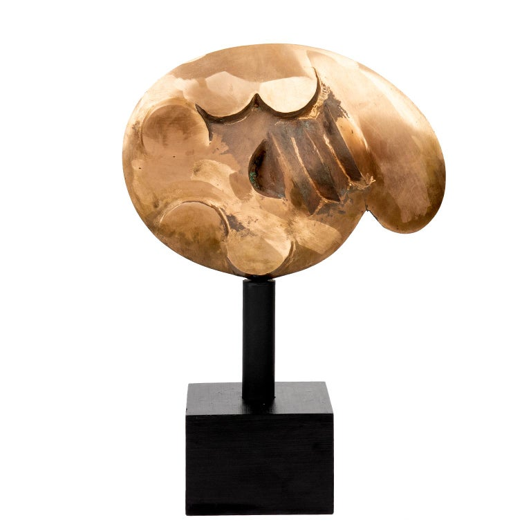 Late 20th Century Canadian Bronze Abstract Sculpture on Stand For Sale