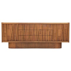 Canadian Brutalist Three-Drawer Credenza or Sideboard with Mosaic Details
