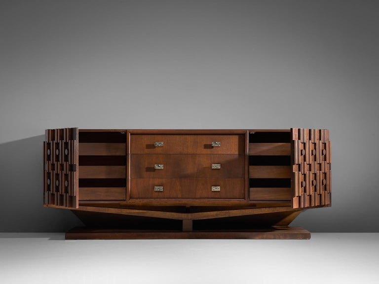 Late 20th Century Canadian Brutalist Walnut Pedestal Sideboard For Sale