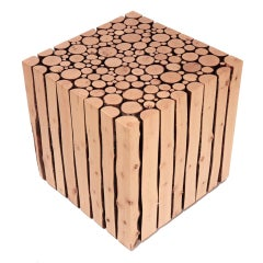 Canadian Bunched Birch Branches Cube Side Table
