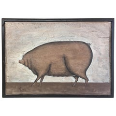 Canadian Folk Art Painting of a Pig, by Maurice Dupras