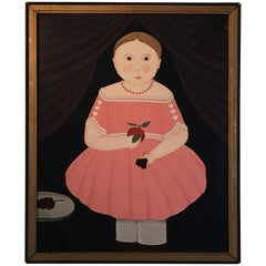 Canadian Folk Art Painting or Lady in Pink