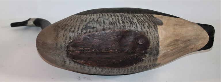 American Canadian Goose Decoy, 1930s Hand Carved For Sale