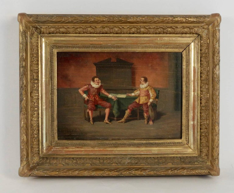 Charming painting, it depicts the conversation between 16th-century characters. Canadian school, late 19th century, sign on the lower left by Ludger Larose, circa 1890.  Fine original condition. Original panel. Original giltwood