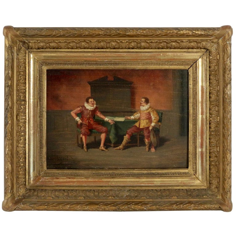"""Canadian School Late 19th Century Oil on Panel """"The Conversation"""", circa 1890 For Sale"""