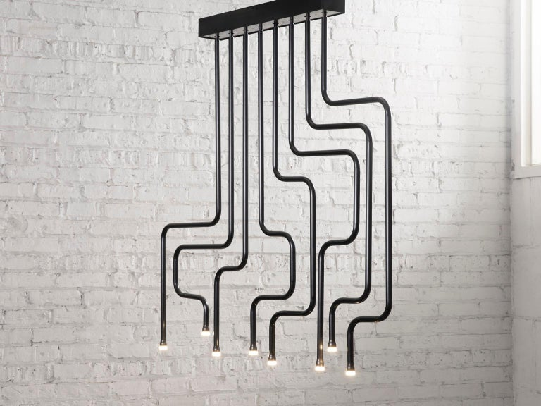 Modern Canal Chandelier, Handcrafted in Chicago, Designed by Christopher Gentner For Sale