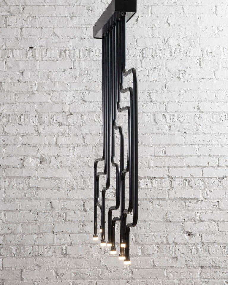 Patinated Canal Chandelier, Handcrafted in Chicago, Designed by Christopher Gentner For Sale
