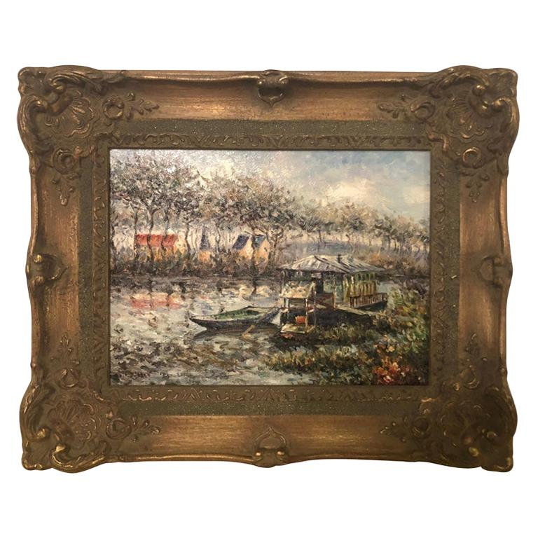 Canal Scene Oil on Canvas Painting Signed