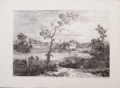 View of a Town on a River Bank - Original Etching by Canaletto