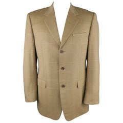 CANALI 42 Long Cashmere Gold Khaki Windowpane Sport Coat