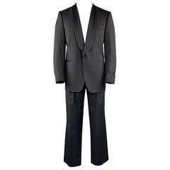 CANALI Black Size 38 Solid Wool Shawl Collar Tuxedo