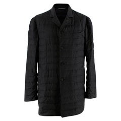 Canali Charcoal Quilted Down Long Jacket - Size 52