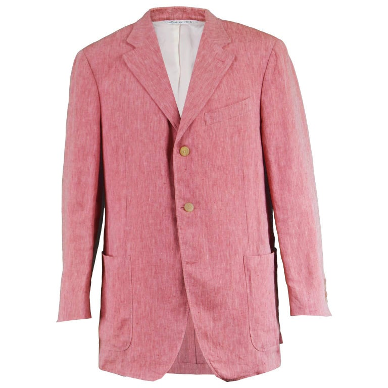 cd75b7cfef Canali for Holt Renfrew Men's Salmon Pink Linen Sport Coat Blazer Jacket 44R