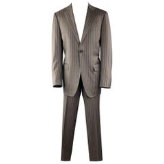 CANALI Size 40 Long Stripe Taupe Wool Notch Lapel Suit