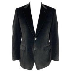CANALI Size 42 Black Cotton Velvet Notch Lapel Sport Coat