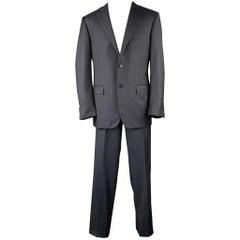 CANALI Size 42 Long Navy Wool Notch Lapel Suit