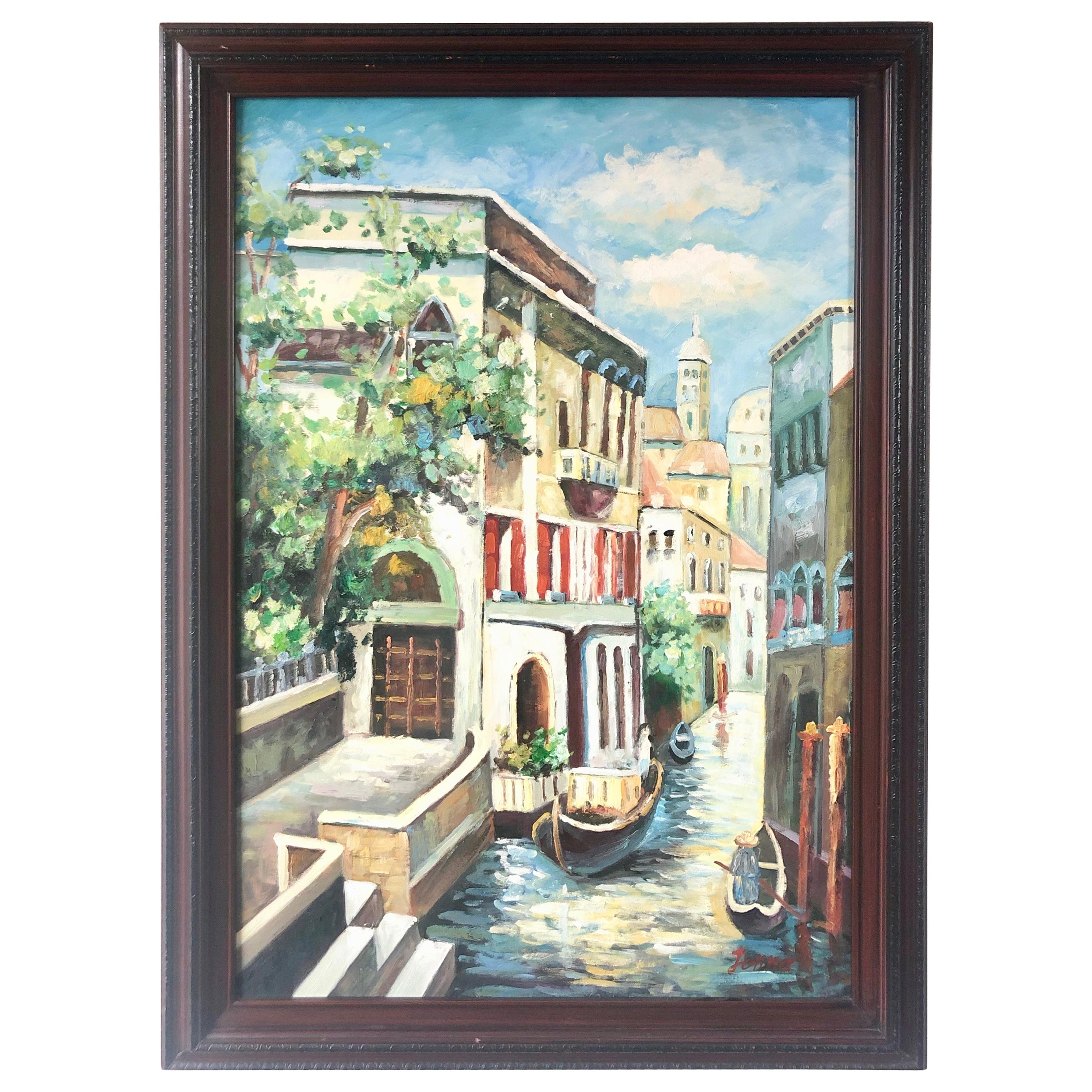 """Canals of Venice Painting Signed """"Jonna"""""""