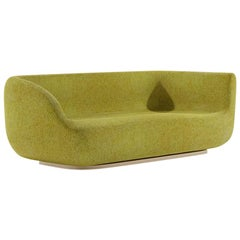 Canapé PL Low Lounge Sofa Settee with Patinated Bronze or Liquid Metal Base