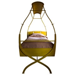 Canary Bed, Painted Steel X-Frame Bed, Part Fairground Ride and Part Swing