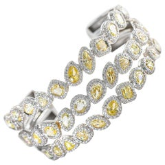 Canary Diamond Cuff Bracelet 18.50 Carat with White Diamonds 7.30 Carat 18K Gold