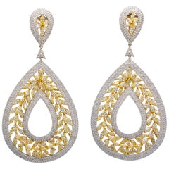 Canary Diamond Earrings 27.46 Carat Total 18 Karat Gold