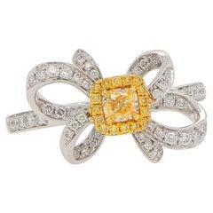 Canary Diamond Ribbon Ring with Yellow Diamond Halo 18K Gold