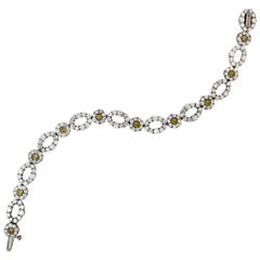 Canary Diamond White Gold Oval Link Bracelet Stambolian