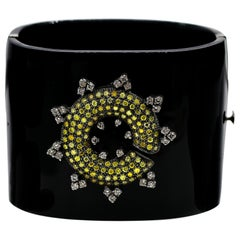Canary Diamonds 1.50 Carat and White Diamonds 1 Carat Bakelite Bracelet