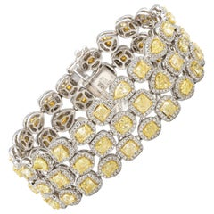 Canary Diamonds 23.33 Carat and White Diamonds 5 Carat\ Bracelet