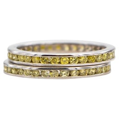 Canary Diamonds Eternity Bands Set of Two 1.20 Carat Total