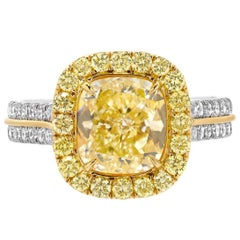 Yellow Diamond Ring Cushion Cut GIA 2.40 Carat Fancy Light Yellow Canary Diamond