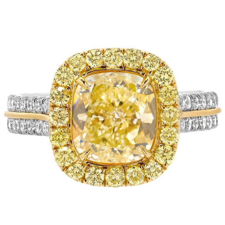 Yellow Diamond Ring Cushion Cut GIA 2.40 Carat Fancy Light Yellow Canary Diamond For Sale